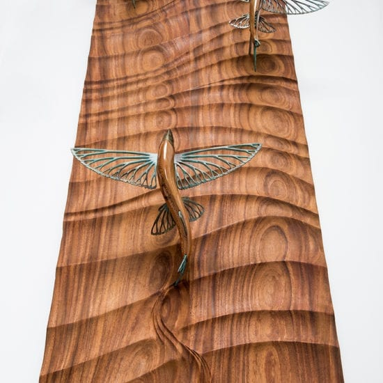 Flying Fish Wood Sculpture - ocean gallery - coastal wildlife sculptures