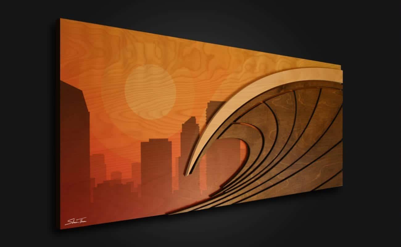 Surf City California Artwork - wood surfboard art - Huntington Beach Surf art