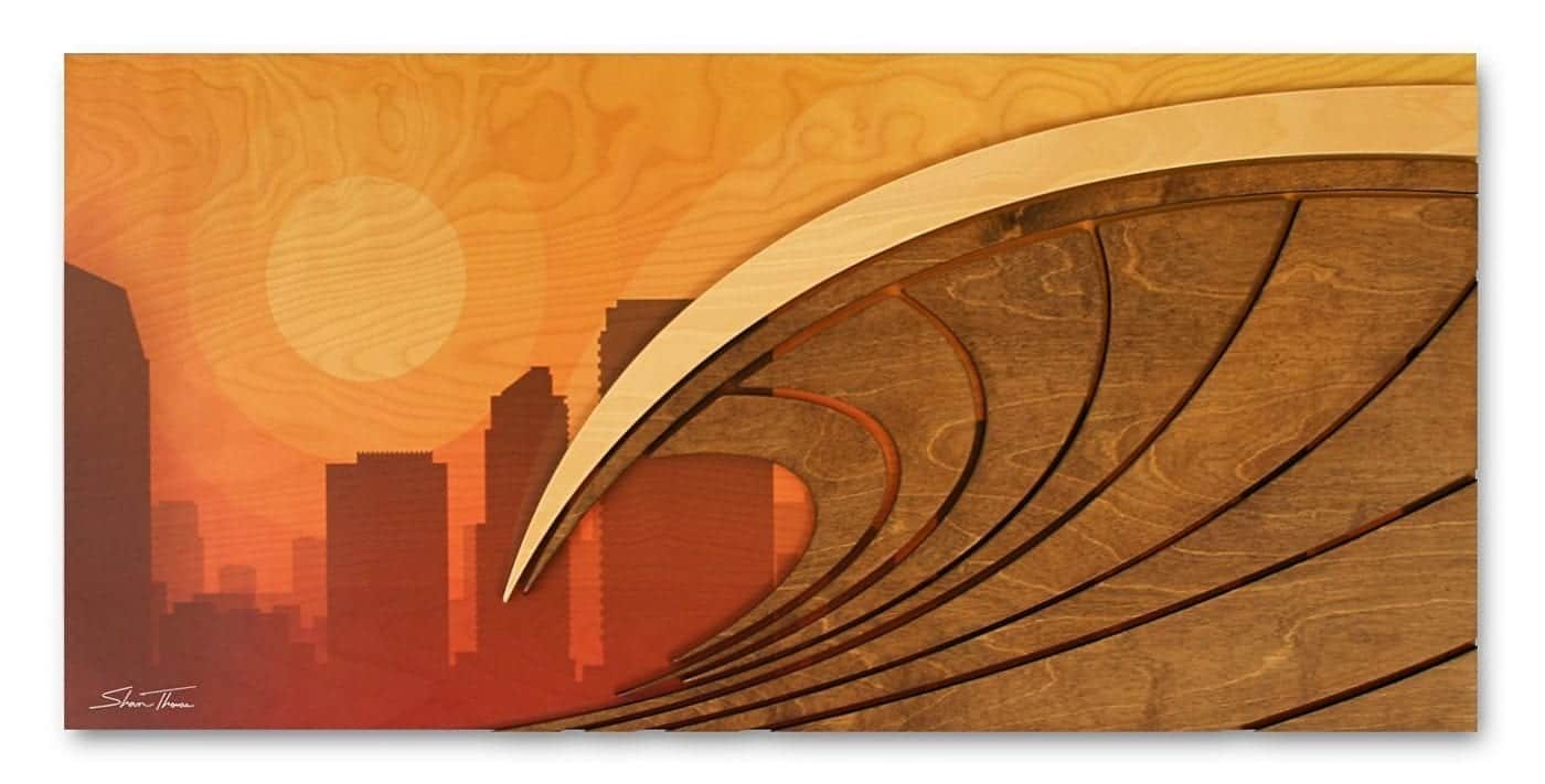 Surf City California Artwork Wood Wave Sculpture With City Backdrop