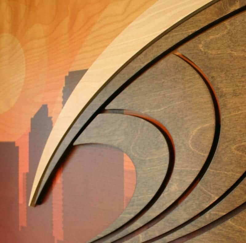 Surf City California Artwork - Wood Wave Carvings - Cityscape