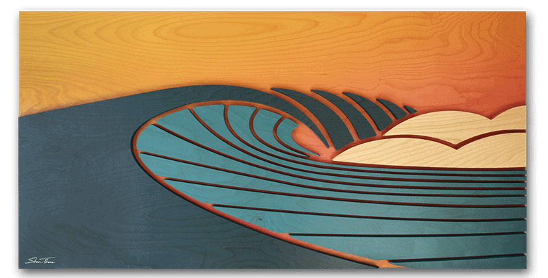 Wood Wave Sculpture - Surf Art - Large Wood Wave Artwork