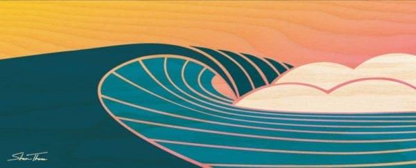 wood wave print - wood wave sculpture - surf artist - beach wall art