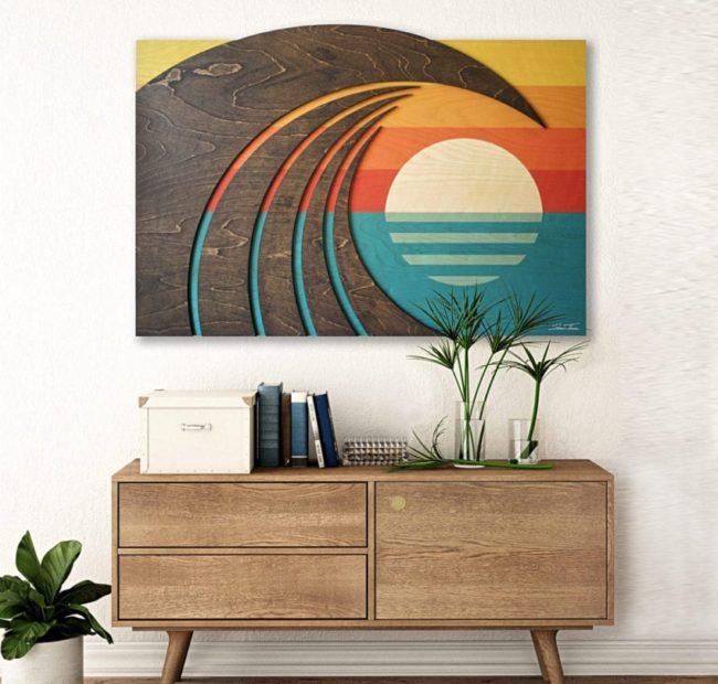 Hawaiian Art - Wood wall sculpture - Wave Art - Shaun Thomas - ocean gallery