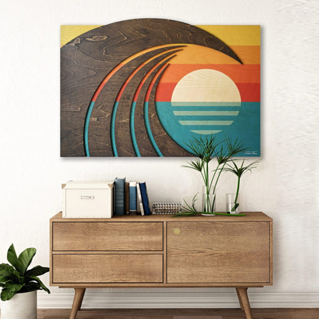 Hawaiian Art - Wood wall sculpture - Wave Art - Shaun Thomas - ocean gallery