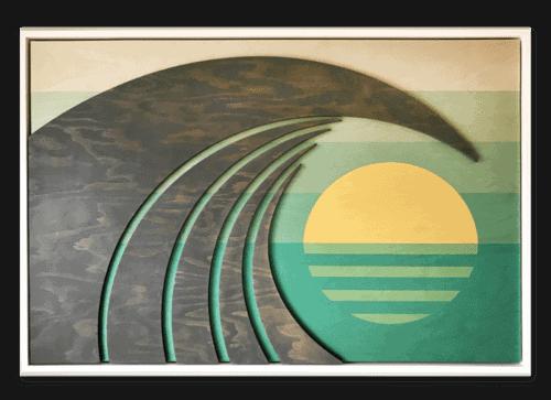 Hawaiian Art - Vintage Colors - Framed Wood Wave Sculpture