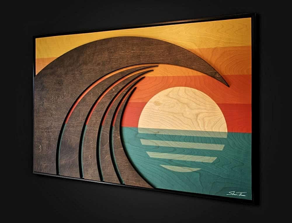 Hawaiian Art - wood wave sculpture - beach house interior inspiration - ocean gallery