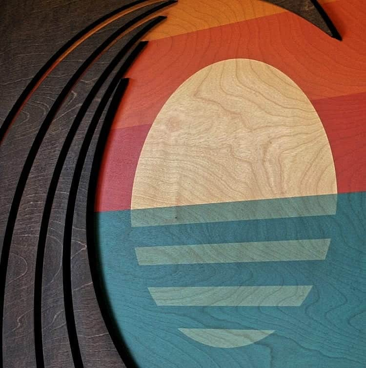 Hawaiian Art - wood wave sculpture - abstract sunset - ocean gallery