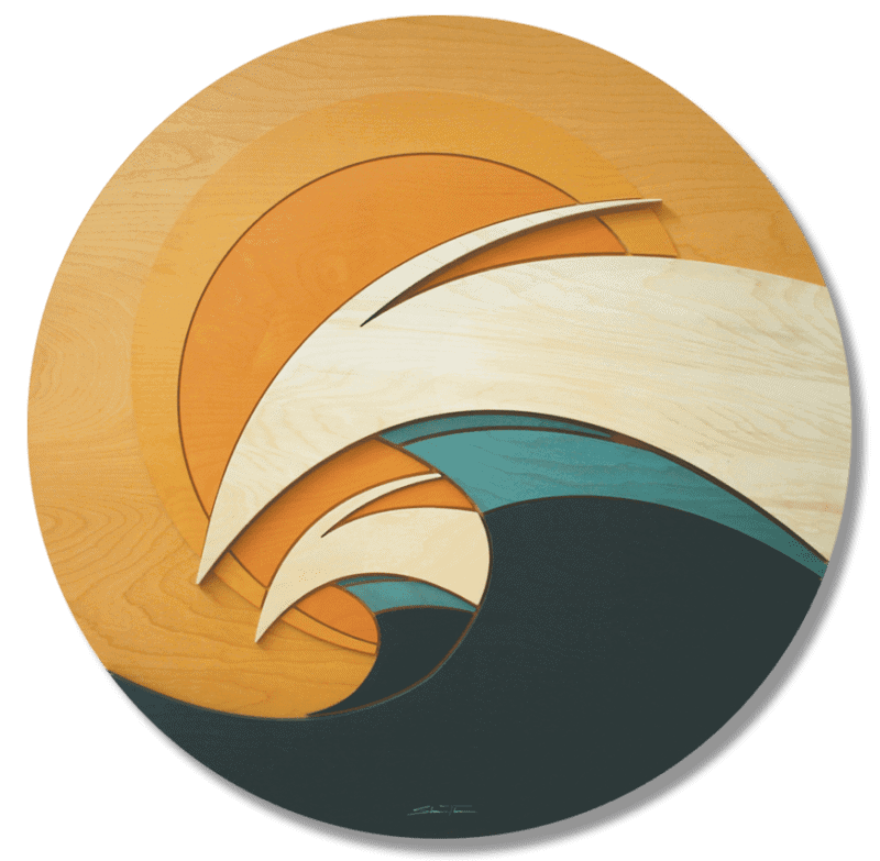 Wave Sculpture 3d Surf Ocean Wood Artwork By Artist Shaun Thomas