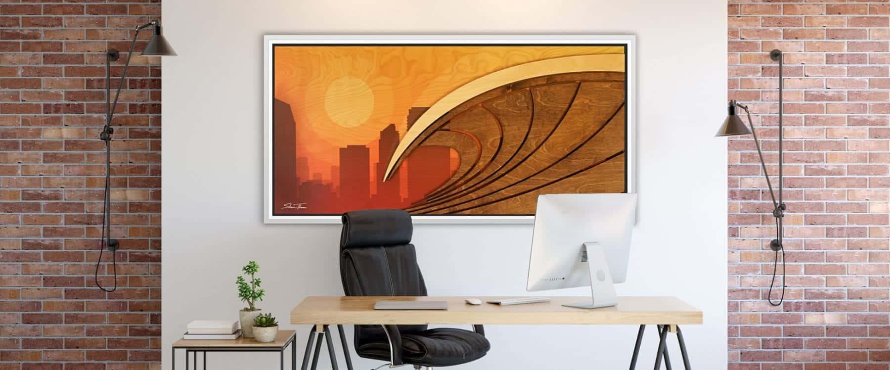 Surf City California Artwork - Floating Frame Wood Beach Wall Art - ocean gallery