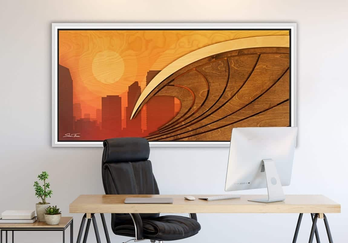 Surf City California Artwork - Los Angeles Surf Art - Wood Wall Sculpture - ocean gallery
