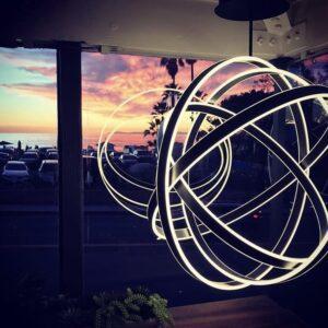 laguna beach venue, Event Space Orange County, sphere pendant light, Laguna beach art galleries