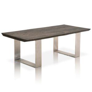 Coffee table - contemporary wood furniture - solid oak - brushed nickel